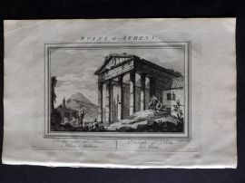 Fenning & Collyer 1765 Antique Print. Ruins at Athens - Temple of Pola. Greece
